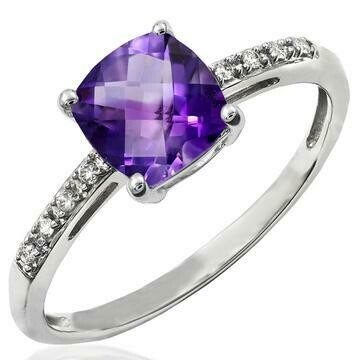 Cushion Amethyst Ring with Diamond Accent 14KT Gold