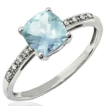 Cushion Aquamarine Ring with Diamond Accent White Gold