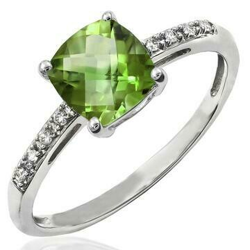 Cushion Peridot Ring with Diamond Accent 14KT Gold
