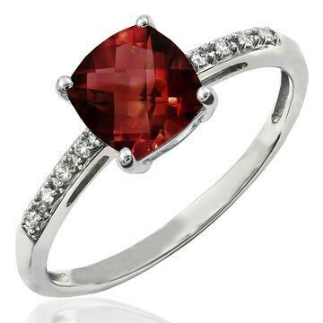 Cushion Garnet Ring with Diamond Accent 14KT Gold