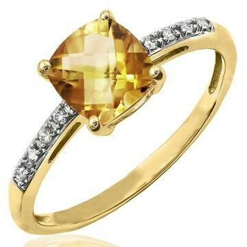 Cushion Citrine Ring with Diamond Accent Yellow Gold