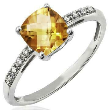 Cushion Citrine Ring with Diamond Accent White Gold