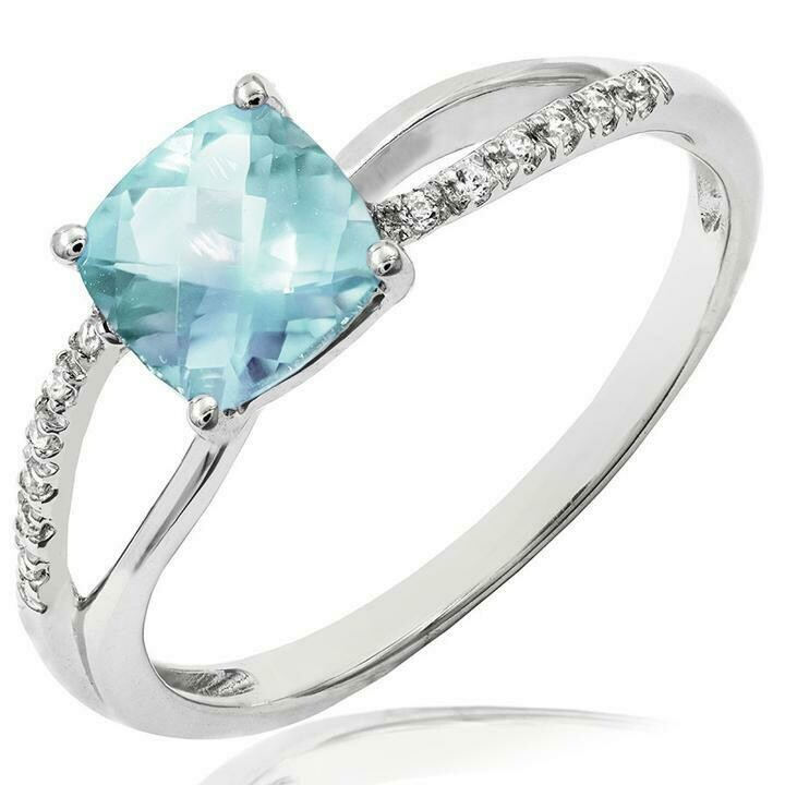 Cushion Aquamarine Ring with Diamond Accent and Split Shoulders 14KT Gold