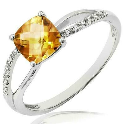Cushion Citrine Ring with Diamond Accent and Split Shoulders White Gold
