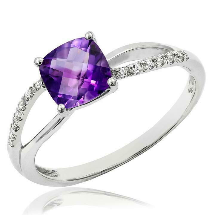 Cushion Amethyst Ring with Diamond Accent and Split Shoulders 14KT Gold