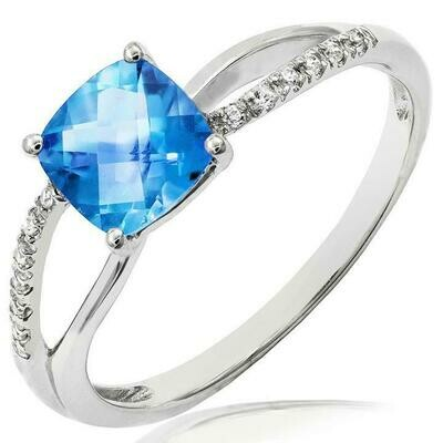 Cushion Blue Topaz Ring with Diamond Accent and Split Shoulders White Gold
