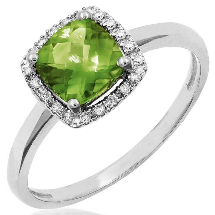Cushion Peridot Ring with Diamond Frame White Gold