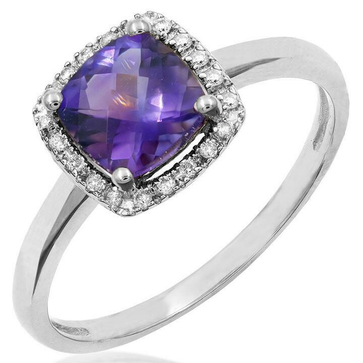 Cushion Amethyst Ring with Diamond Halo 14KT Gold
