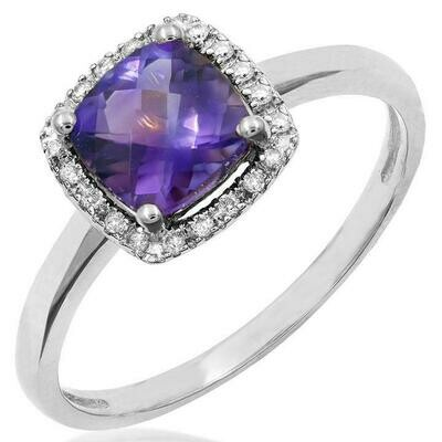 Cushion Amethyst Ring with Diamond Frame White Gold