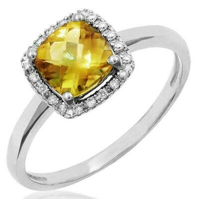 Cushion Citrine Ring with Diamond Frame White Gold