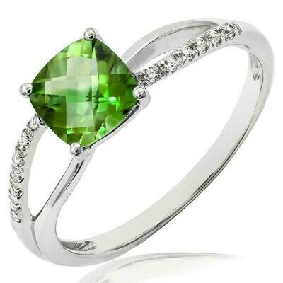 Cushion Peridot Ring with Diamond Accent and Split Shoulders White Gold