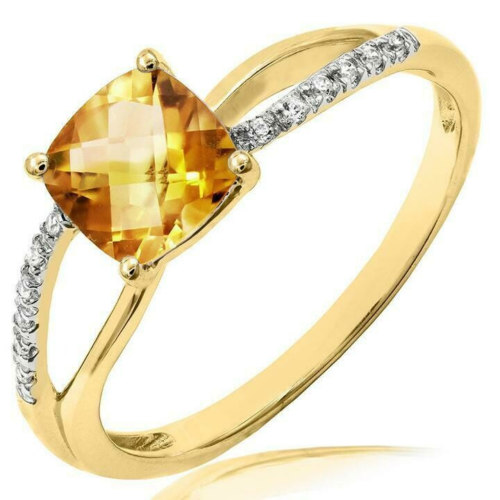 Cushion Citrine Ring with Diamond Accent and Split Shoulders Yellow Gold