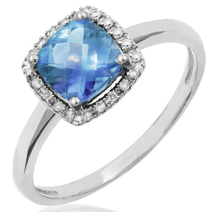 Cushion Blue Topaz Ring with Diamond Halo 14KT Gold