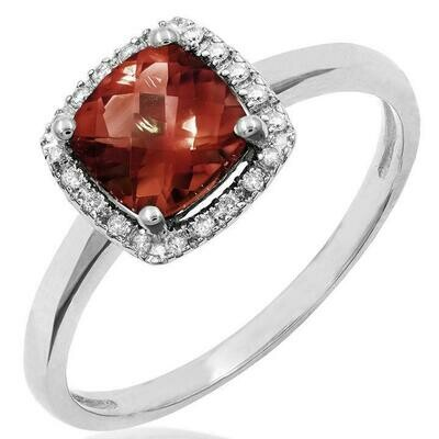 Cushion Garnet Ring with Diamond Frame White Gold