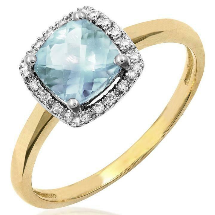 Cushion Aquamarine Ring with Diamond Frame Yellow Gold
