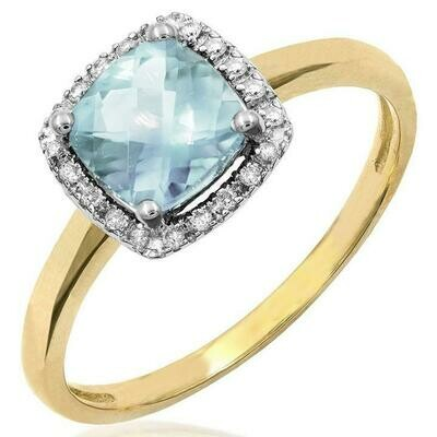 Cushion Aquamarine Ring with Diamond Frame Yellow Gold