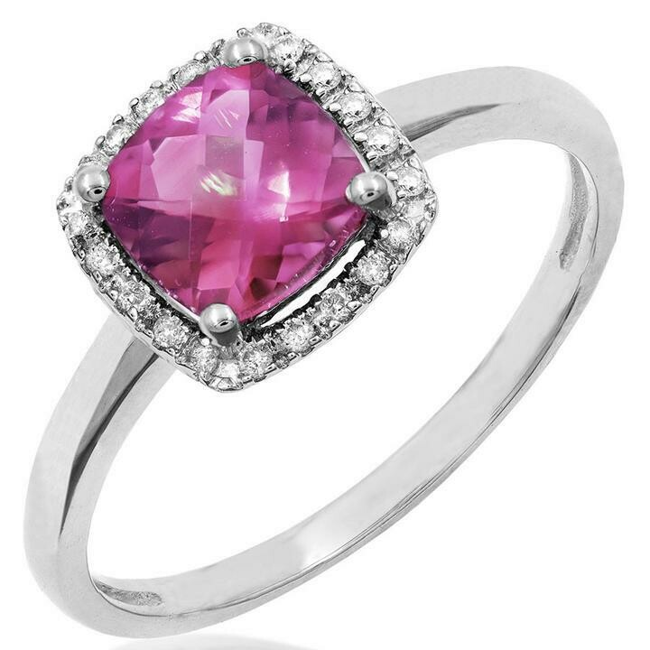 Cushion Pink Topaz Ring with Diamond Halo 14KT Gold