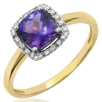 Cushion Amethyst Ring with Diamond Frame Yellow Gold