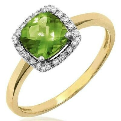 Cushion Peridot Ring with Diamond Frame Yellow Gold