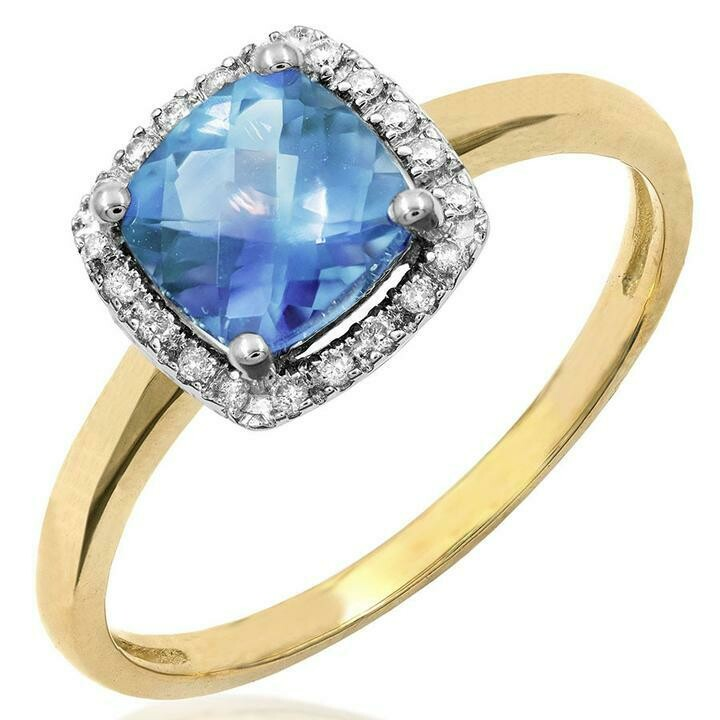 Cushion Blue Topaz Ring with Diamond Frame Yellow Gold