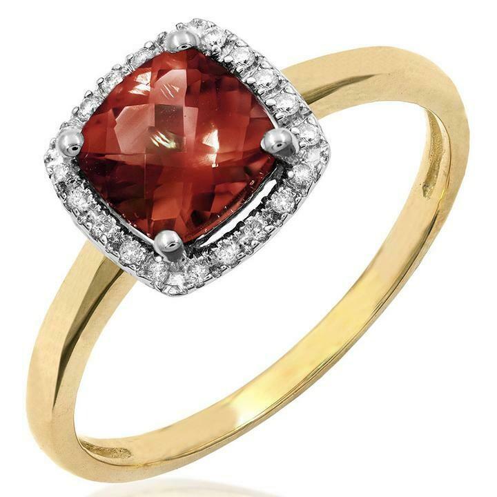 Cushion Garnet Ring with Diamond Frame Yellow Gold