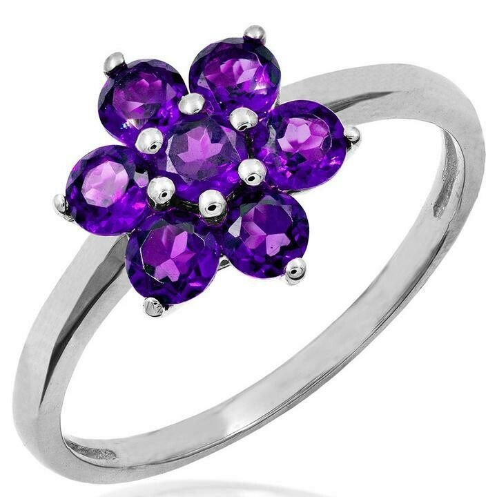 Floral Amethyst Ring White Gold