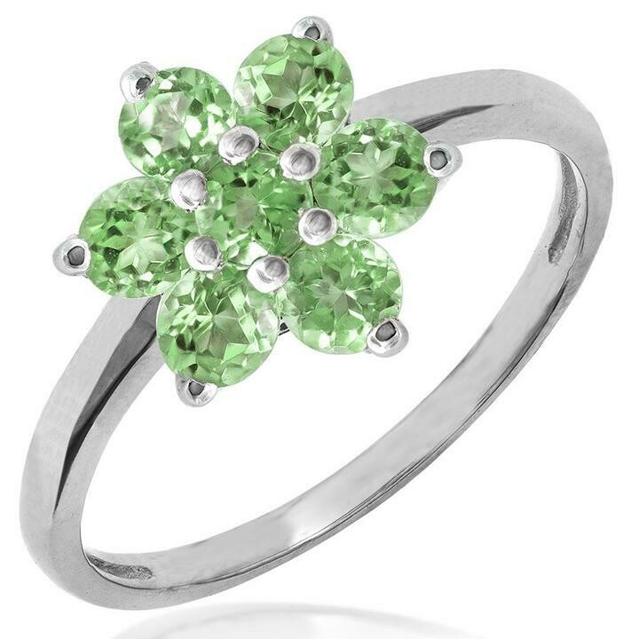Floral Peridot Cluster Ring 14KT Gold
