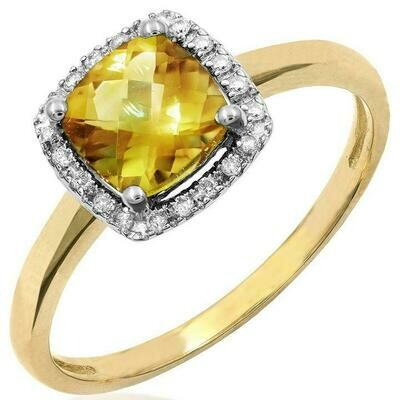 Cushion Citrine Ring with Diamond Frame Yellow Gold