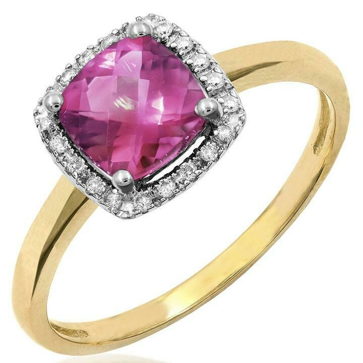 Cushion Pink Topaz Ring with Diamond Frame Yellow Gold