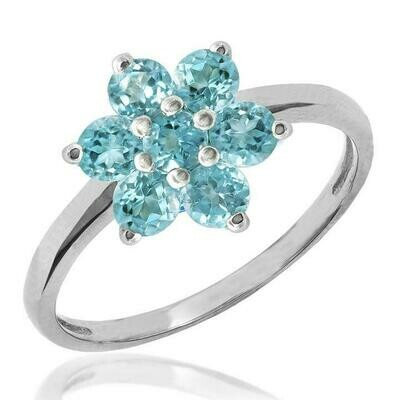 Floral Blue Topaz Ring White Gold