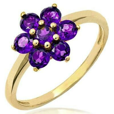 Floral Amethyst Ring Yellow Gold