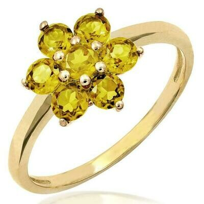 Floral Citrine Ring Yellow Gold