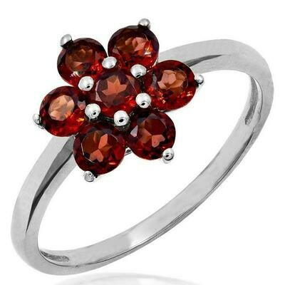 Floral Garnet Ring White Gold