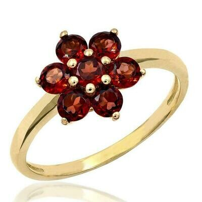 Floral Garnet Ring Yellow Gold