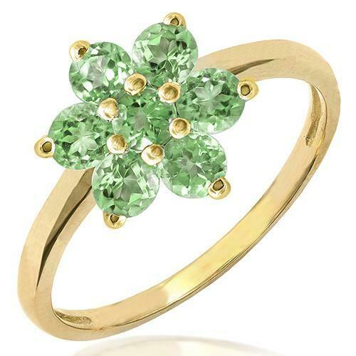 Floral Peridot Ring Yellow Gold