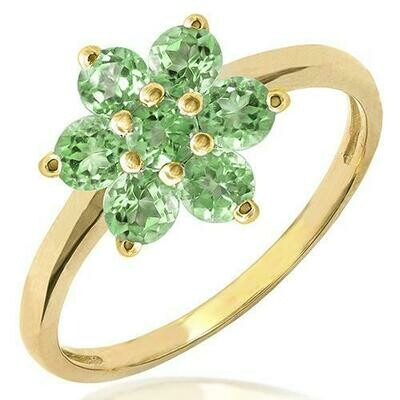 Floral Peridot Ring Yellow Gold