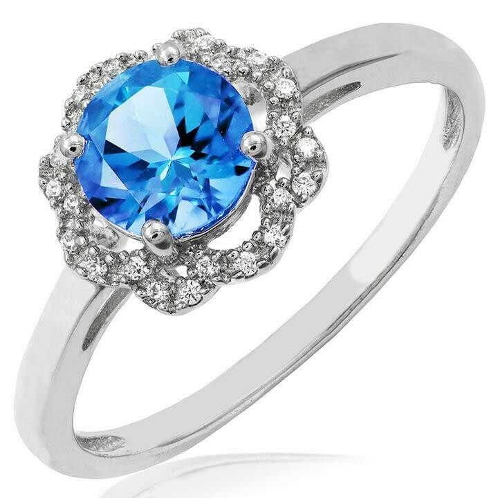 Blue Topaz Ring with Diamond Floral Halo 14KT Gold
