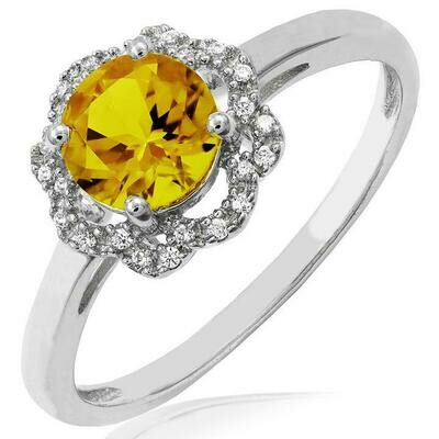 Floral Citrine Ring with Diamond Frame White Gold