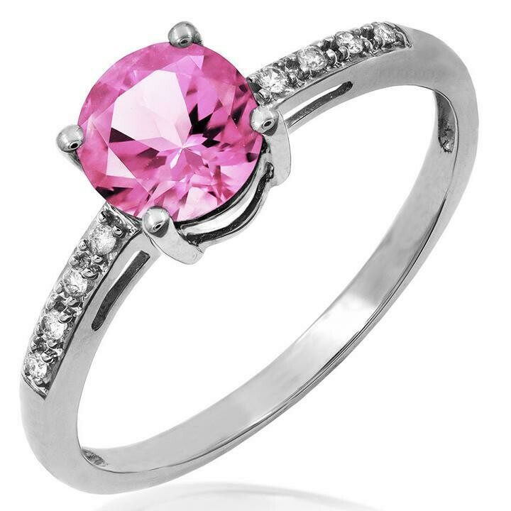 Pink Topaz Ring with Diamond Accent White Gold