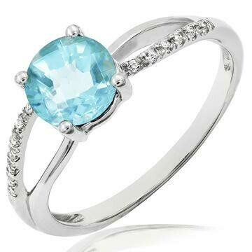 Blue Topaz Ring with Diamond Accent and Split Shoulders White Gold