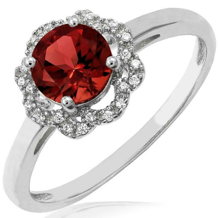 Garnet Ring with Diamond Floral Halo 14KT Gold
