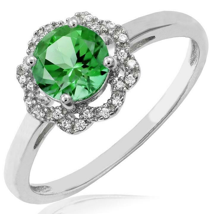 Floral Peridot Ring with Diamond Frame White Gold