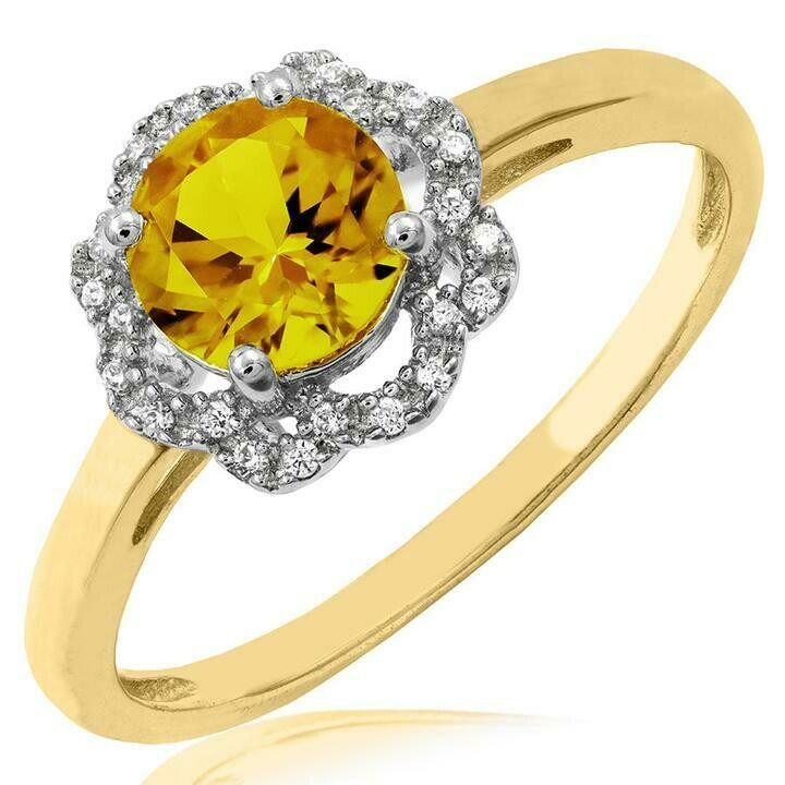 Floral Citrine Ring with Diamond Frame Yellow Gold