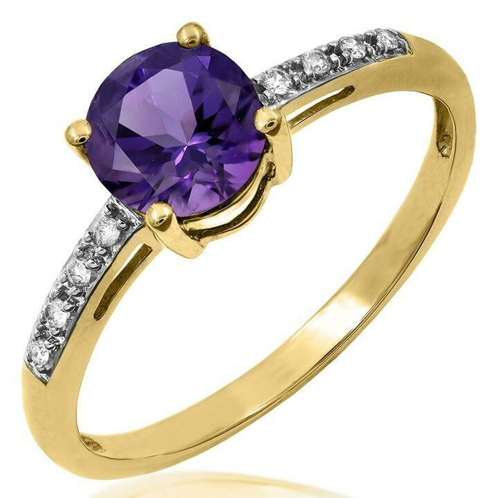 Amethyst Ring with Diamond Accent Yellow Gold