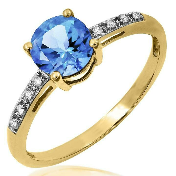 Blue Topaz Ring with Diamond Accent Yellow Gold