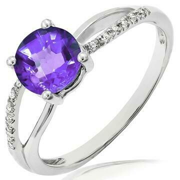 Amethyst Ring with Diamond Accent and Split Shoulders 14KY Gold