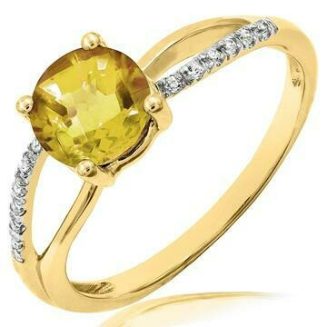 Citrine Ring with Diamond Accent and Split Shoulders Yellow Gold