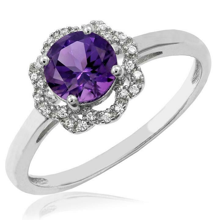Floral Amethyst Ring with Diamond Frame White Gold