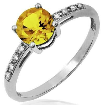 Citrine Ring with Diamond Accent White Gold