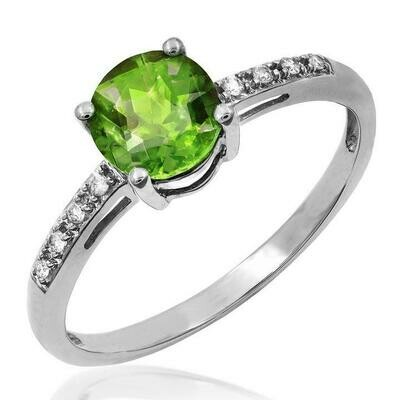Peridot Ring with Diamond Accent White Gold